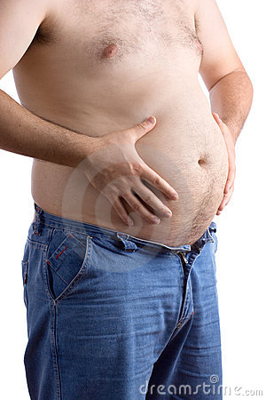 Free Fat Guy Holding His Big Belly Royalty Free Stock Image - 1888086