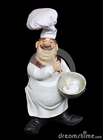 Fat Italian Chef Over Black