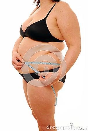 Fat lady measuring waist
