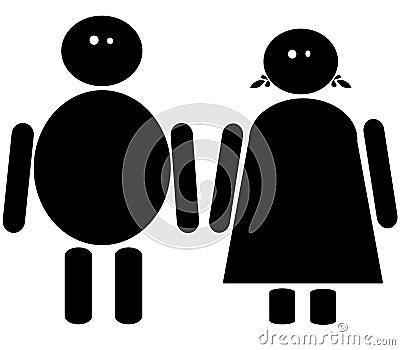 Fat male and female icon