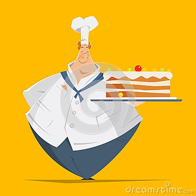 Fat man baker confectioner holding tray big cake Vector Illustration