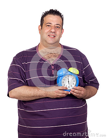 Fat man with a blue alarm clock