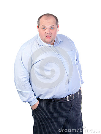 Fat Man in a Blue Shirt