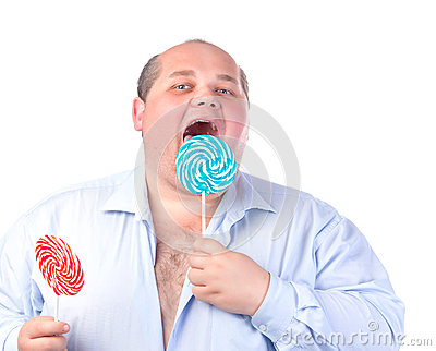 Fat Man in a Blue Shirt, Eating a Lollipop