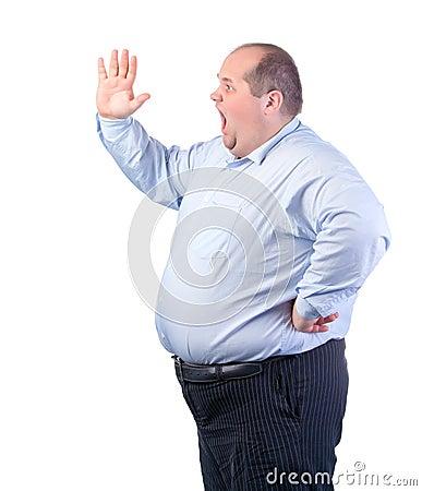 Fat Man in a Blue Shirt, Shouting