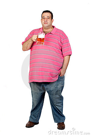 Fat man drinking a jar of beer