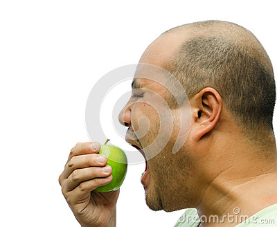 A fat man is forcing himself to eat an apple