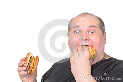 Fat Man Greedily Eating Hamburger