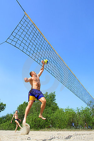 Fat man jumps to push ball
