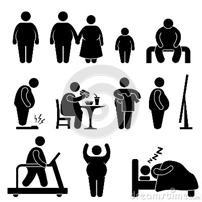 Fat Man Obesity Overweight Pictogram