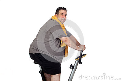Fat man playing sport