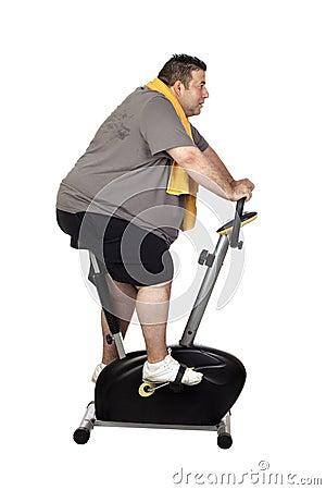 Fat man playing sport