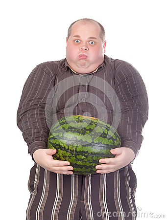 Fat man struggling to hold the watermelon