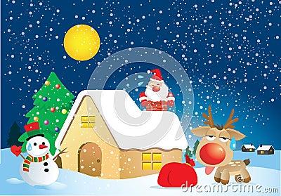 Fat Santa Claus in Xmas night