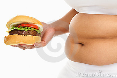Fat stomach with burger