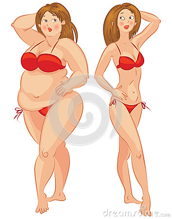 Fat and thin woman