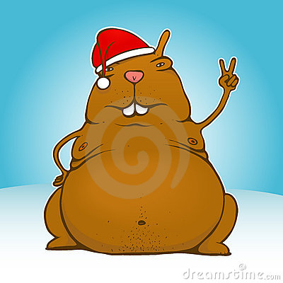 Fat victory/peace santa rodent