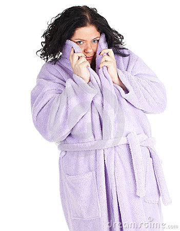 Fat woman in bathrobe