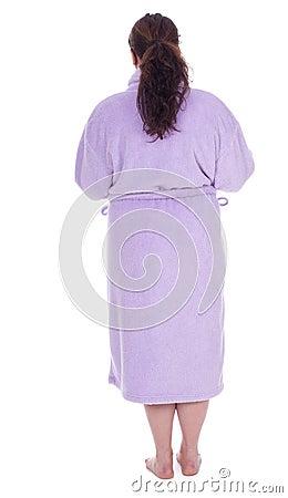 Fat woman in bathrobe, series