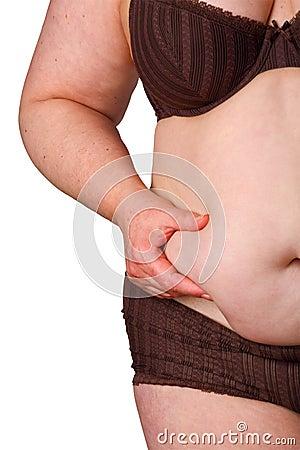 Fat woman in brown underwear