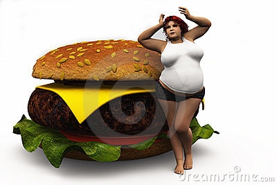 The fat woman and a burger