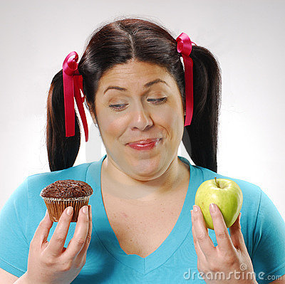 Fat woman dieting.