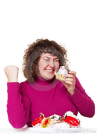 Free Fat Woman Eating Pastry With Pleasure Royalty Free Stock Photo - 8423025