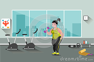 Fat woman in the gym Vector Illustration