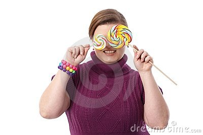 Fat woman with lollipops