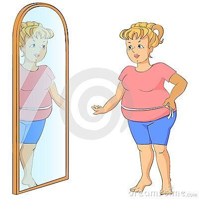 Fat woman with measure tape.