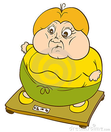 Fat woman on scales