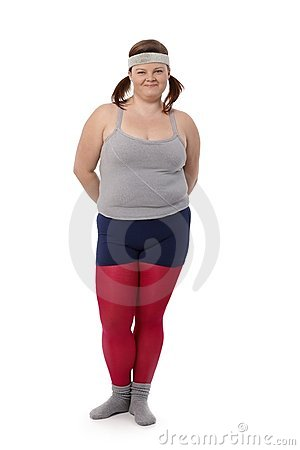 Fat woman in sportswear smiling