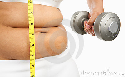 Fat woman start to do exercise