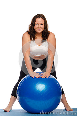 Free Fat Woman With A Ball Stock Photography - 35453192