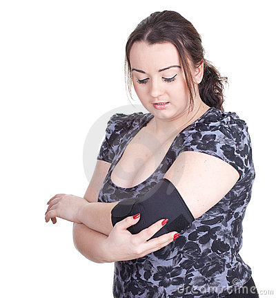 Fat young woman in medical bandage