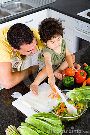 Free Father And Son Cooking Stock Image - 12771751