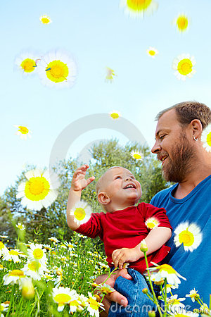 Free Father And Son In Flowers Stock Images - 14117894