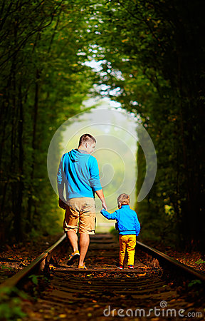 Free Father And Son Together In Green Tunnel Stock Images - 34118924