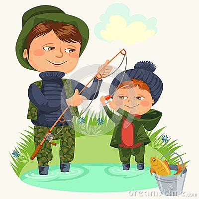 Free Father And Son Water Fishing Holding Rod And Bucket Full Fish, Family Kids Vacation Happy Fathers Day, Dad With Child Stock Photo - 110845970