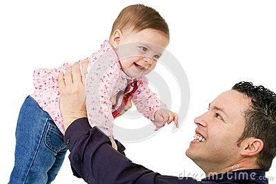 Father and baby daughter playing.
