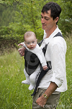 Father with baby in sling