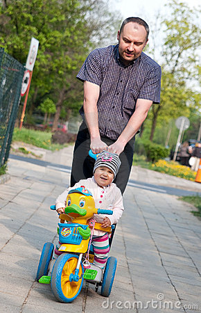Father and baby walk