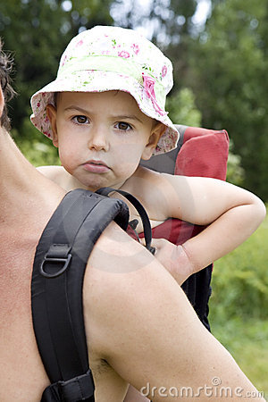 Father carry little boy