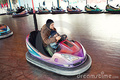 Father and child bumper car