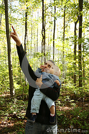 Father and Child in Forest