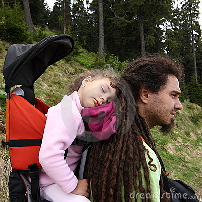 Father and child hiking