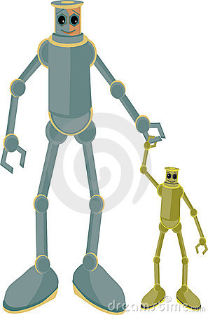 Father and child robots holding hands