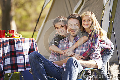 Father And Children Enjoying Camping Holiday