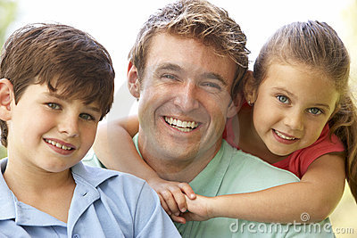 Father With Children In Park