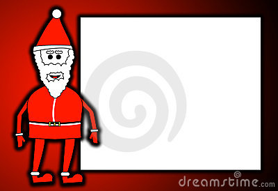 Father Christmas With Blank Sign